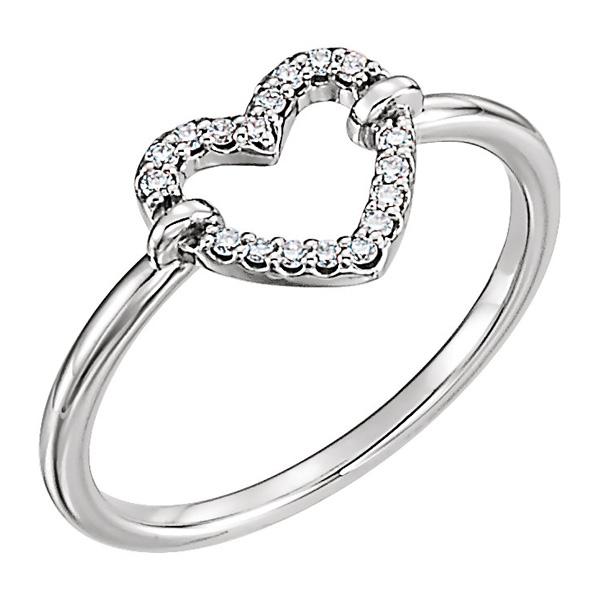 1/10 Carat Diamond 14K White Gold Heart Ring