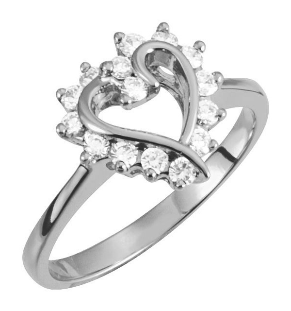 1/3 Carat Heart Halo Diamond Ring in White Gold