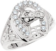 1/4 Carat Men's Diamond Horseshoe Ring with Horse in White Gold