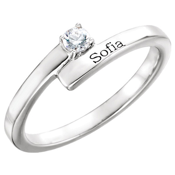 1 Stone Personalized Gemstone Ring with Name, 14K White Gold