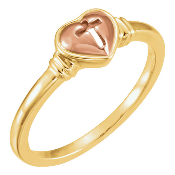 10K Rose and Yellow Gold Heart Cross Ring