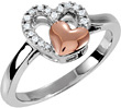 10K Rose Gold and Silver Diamond Heart Ring