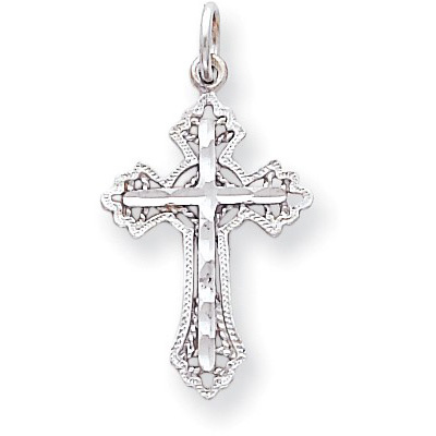 10K White Gold Diamond-Cut Cross Pendant