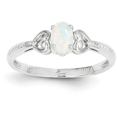 10K White Gold Opal and Diamond Ring