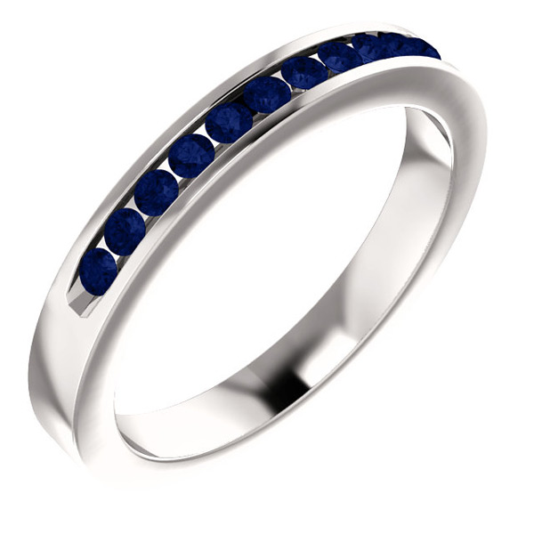 11-Stone Blue Sapphire Band in 14K White Gold