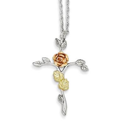12K Rose Gold & Silver Rose of Sharon Necklace