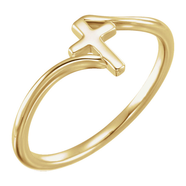 14K Gold Cross Bypass Ring
