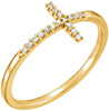 14K Gold Diamond Cross Ring for Women