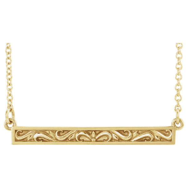 Paisley Scroll Bar Necklace in 14K Yellow Gold, 18 Inches