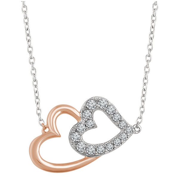 14k Rose and White Gold 1/5 Carat Diamond Double Heart Necklace