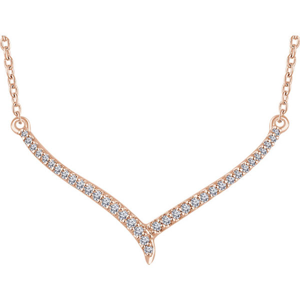 14K Rose Gold 0.15 Carat Diamond V Bar Necklace