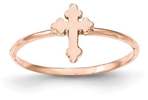 14K Rose Gold Budded Cross Ring for Women