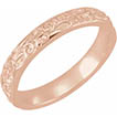 14K Rose Gold Carved Floral Wedding Band Ring for Women
