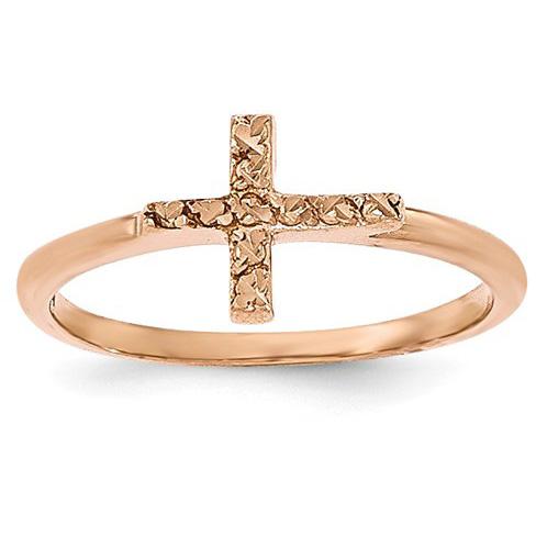 14K Rose Gold Diamond-Cut Cross Ring for Women