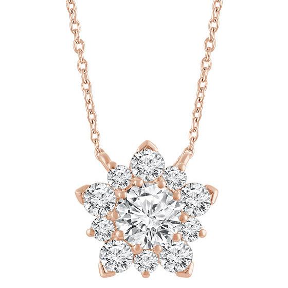 14K Rose Gold Diamond Star Cluster Necklace