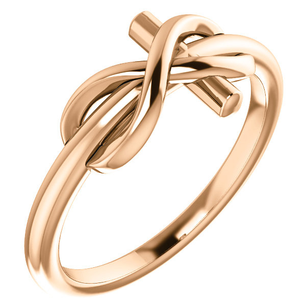 14K Rose Gold Infinity Cross Ring