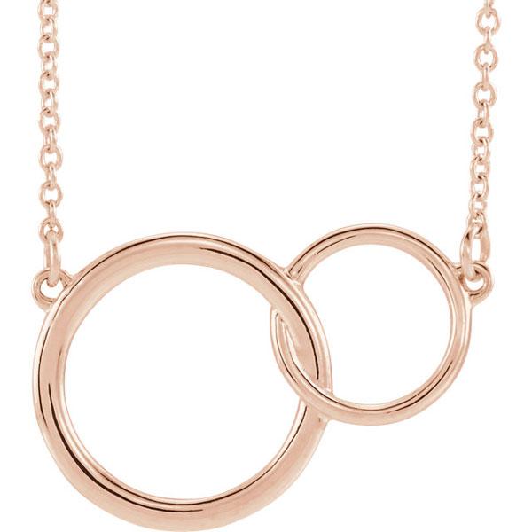14K Rose Gold Interlocking Circle Pendant Necklace