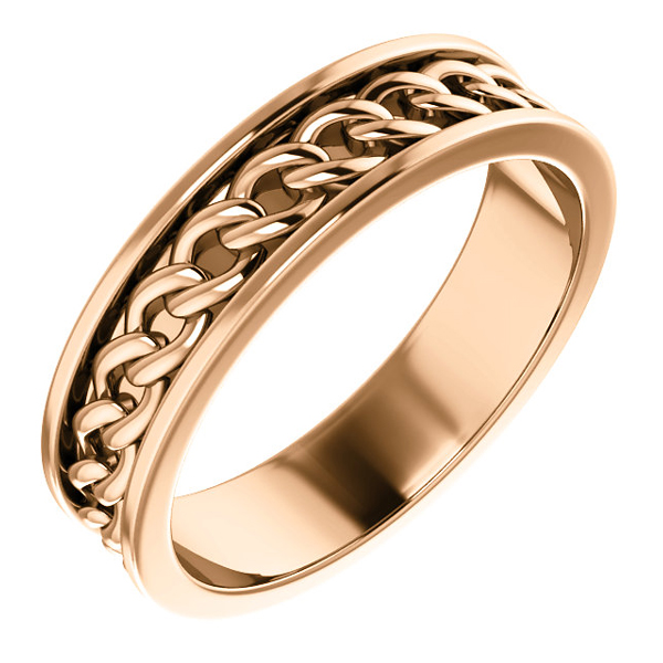 14K Rose Gold Men's Link Design Wedding Band Ring