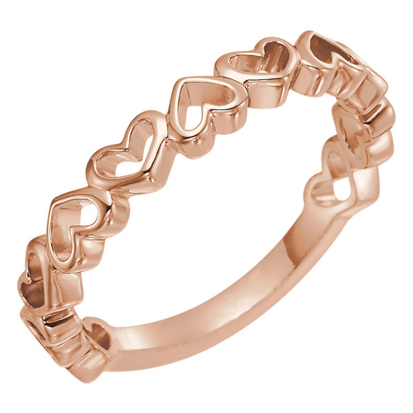 14K Rose Gold Open Heart Band