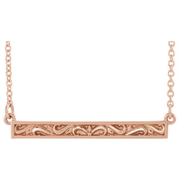 14K Rose Gold Paisley Scroll Bar Necklace