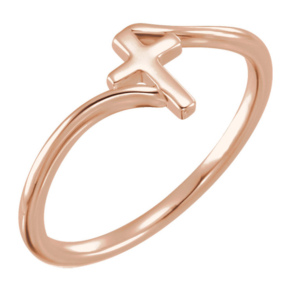 14K Rose Gold Polished Plain Cross Ring
