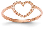 14K Rose Gold Rope Design Heart Ring