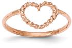 14K Rose Gold Rope Design Heart Ring