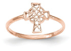 14K Rose Gold Women's Celtic Cross Ring