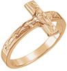 14K Rose Gold Crucifix Ring for Women
