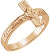 14K Rose Gold Crucifix Ring for Women