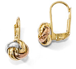 14K Tri-Color Gold Lever-Back Love Knot Earrings