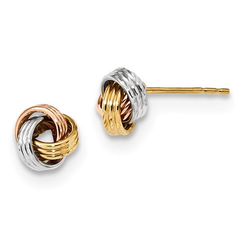 14K Tri-Color Gold Love Knot Post Earrings