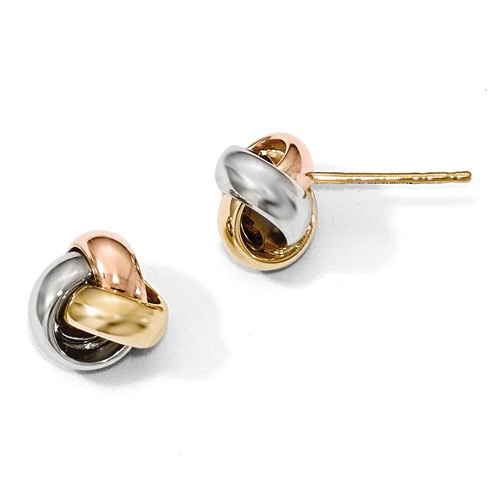 14K Tri-Color Gold Polished Love Knot Earrings