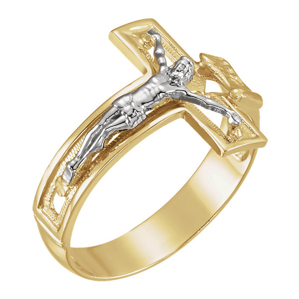 14K Two-Tone Gold Crucifix Ring for Men