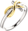 14K Two-Tone Gold Infinity Cross Ring for Women