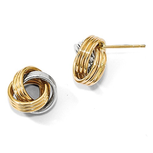 14K Two-Tone Gold Polished Love Knot Earrings