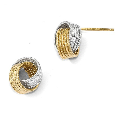 14K Two-Tone Gold Textured Love Knot Earrings
