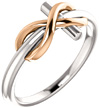 14K White and Rose Gold Infinity Cross Ring