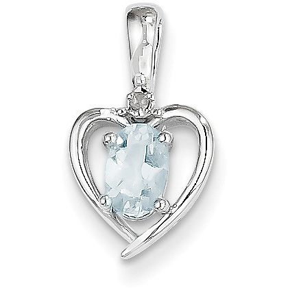 14K White Gold Aquamarine and Diamond Heart Pendant