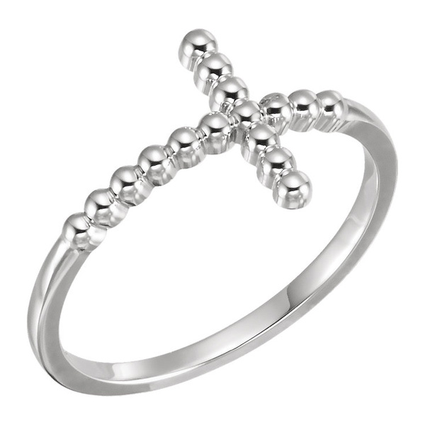 14K White Gold Beaded Cross Ring
