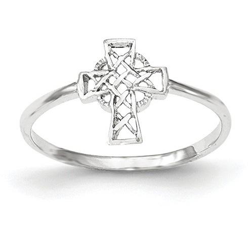14K White Gold Celtic Cross Ring for Women