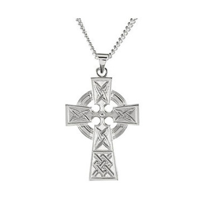 Sterling Silver Celtic Knot Cross Necklace for Men