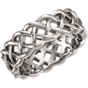 14K White Gold Celtic Weave Wedding Band Ring