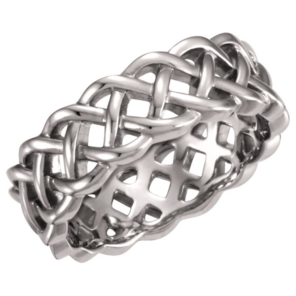 Sterling Silver Celtic Weave Wedding Band Ring