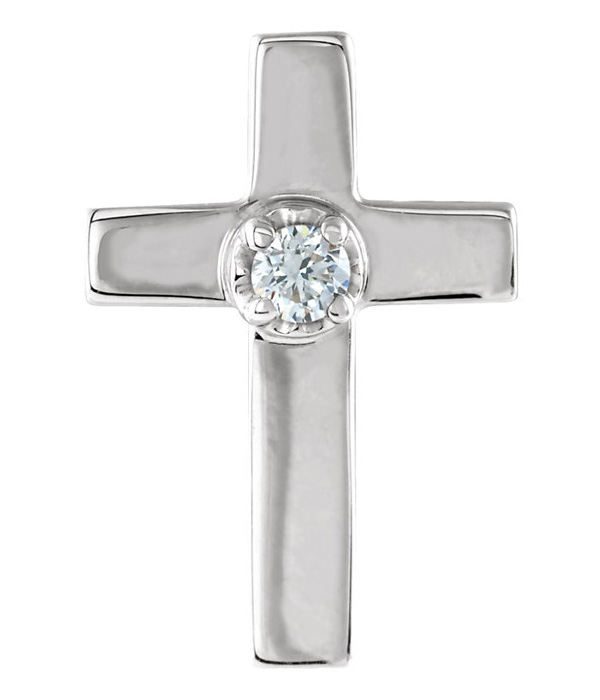 Diamond Cross Lapel Pin, 14K White Gold