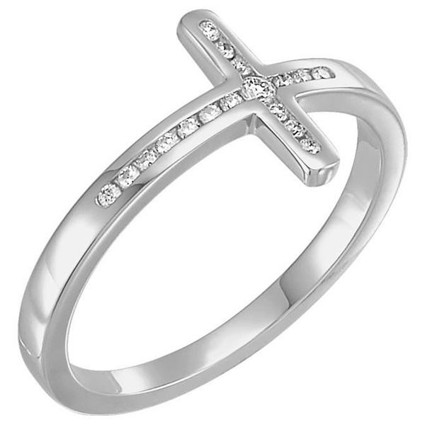 14K White Gold Diamond Cross Ring for Women