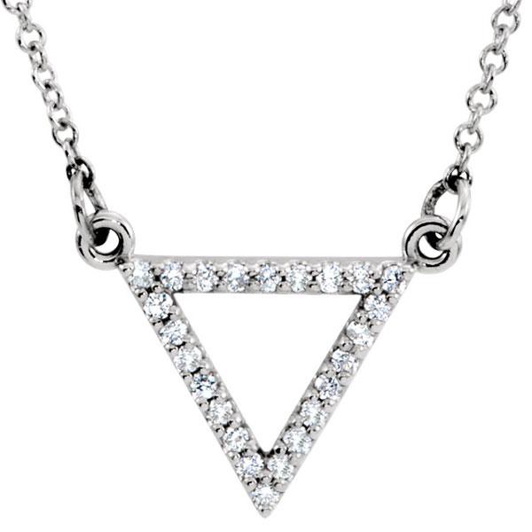 14K White Gold Diamond Triangle Necklace