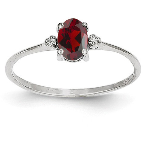 14K White Gold Garnet and Diamond Birthstone Ring