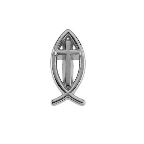 14K White Gold Ichthus Cross Lapel Pin