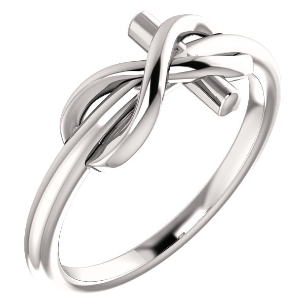 14K White Gold Infinity Cross Ring